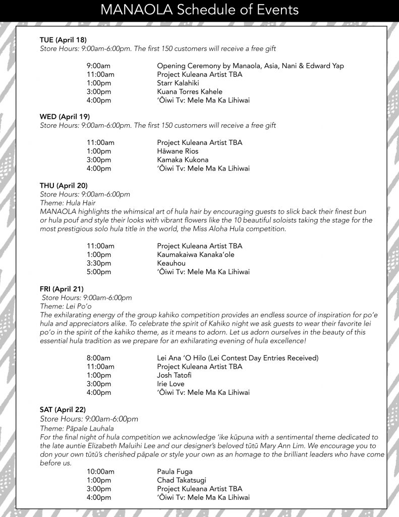 Manaola Schedule of Events