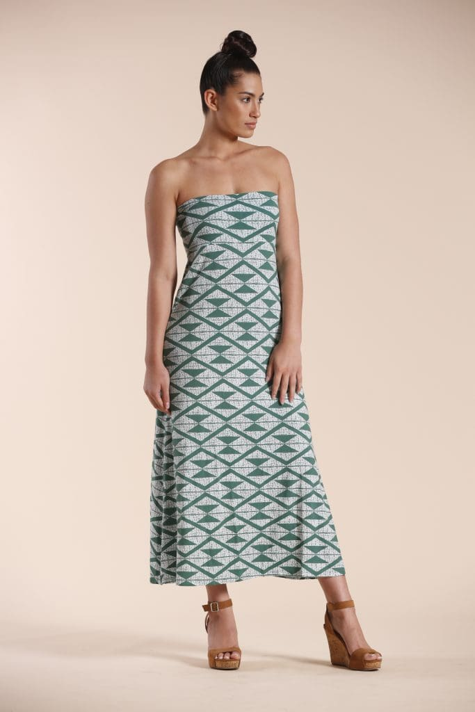 Model wearing Green Triangle Maxi Dress - Front View
