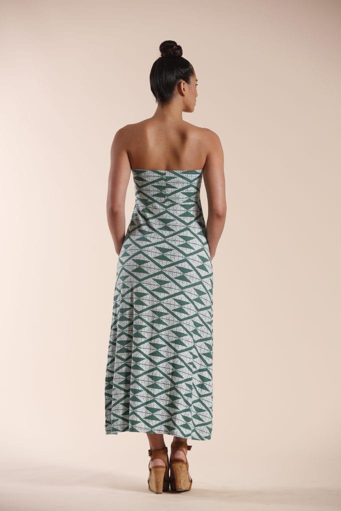 Model wearing Green Triangle Maxi Dress - Back View