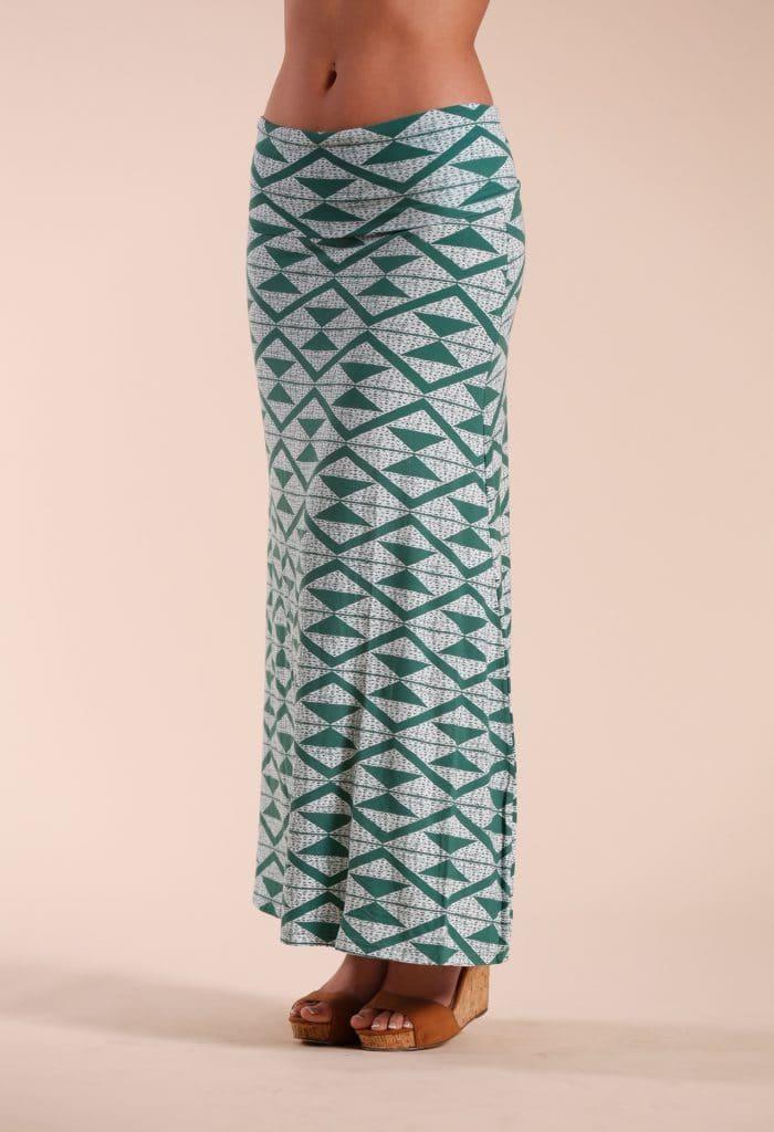 Green Triangle Maxi Skirt