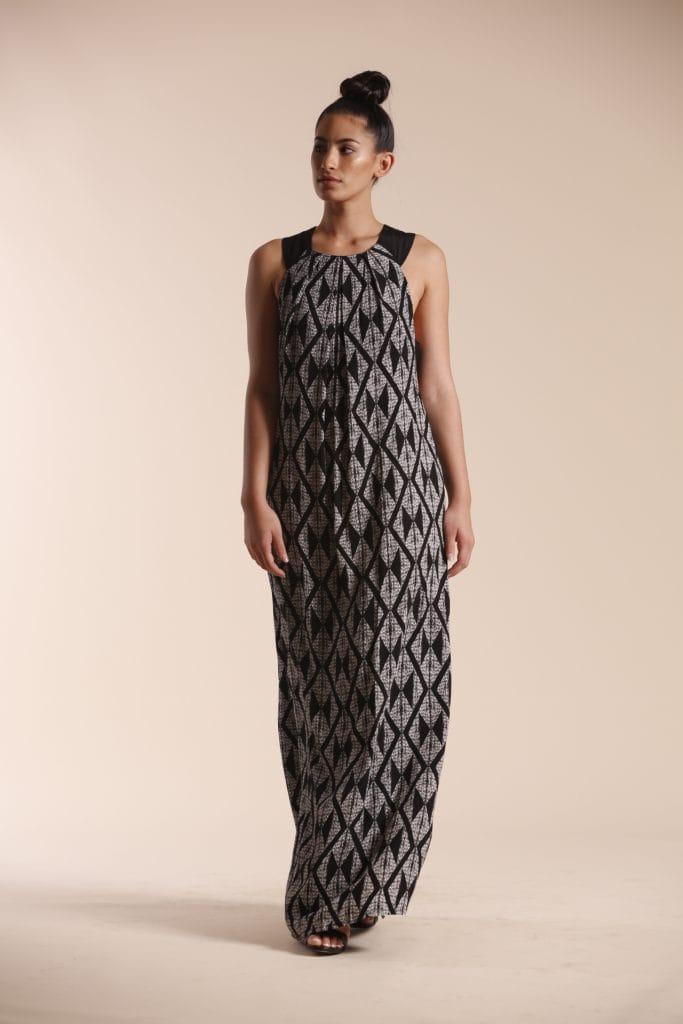 Model wearing Black patterned Dress - Front View
