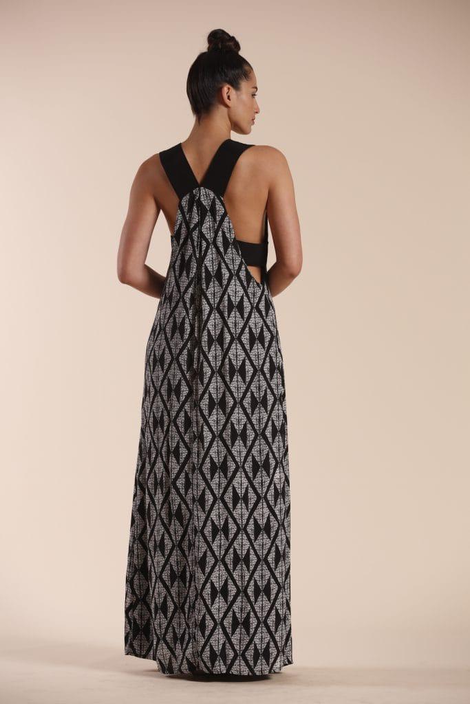 Model wearing Black patterned Dress - Back View