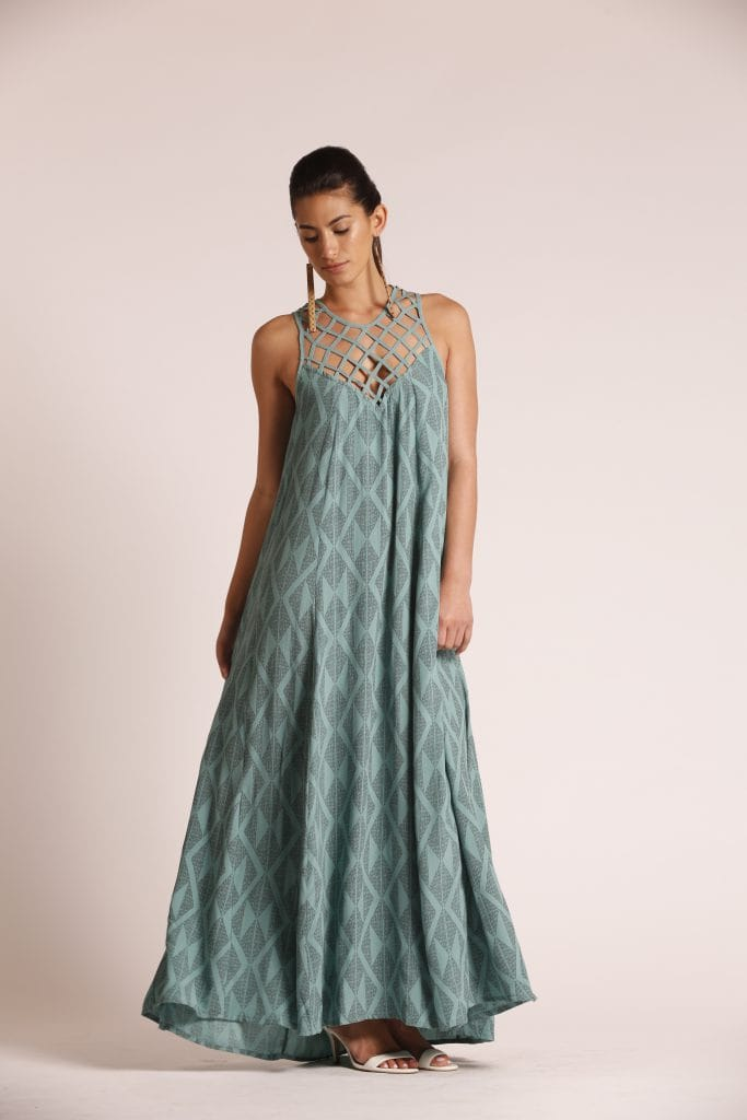 Model wearing Sage Green Dress - Front View