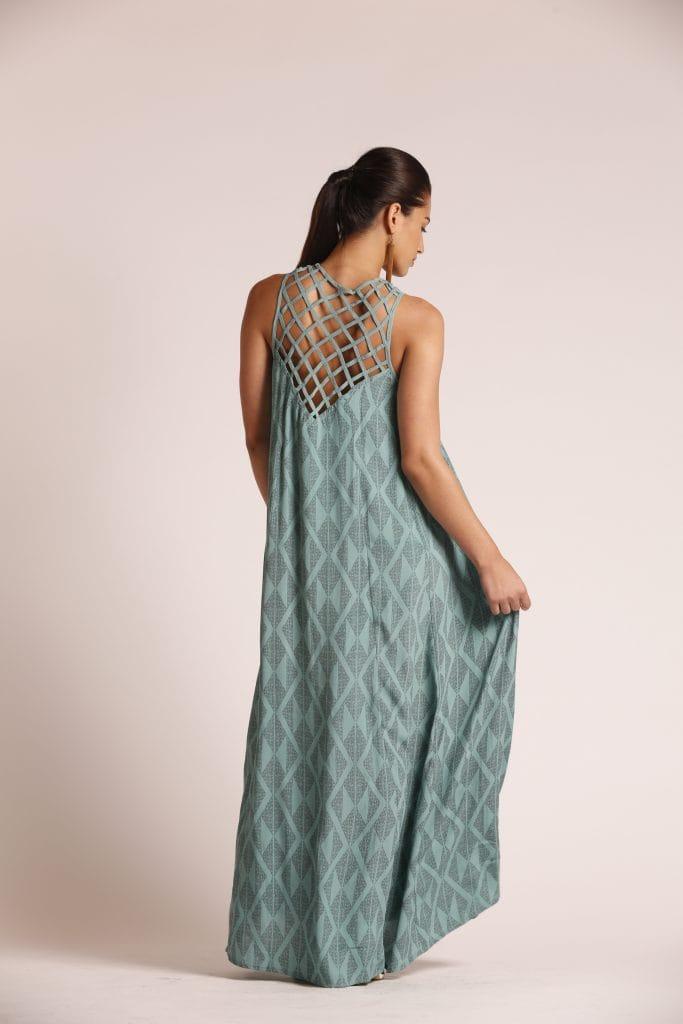 Model wearing Sage Green Dress - Back View
