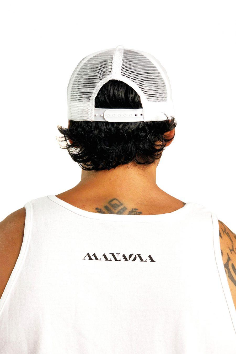 Male model wearing Logo Trucker Hat in White - Back View