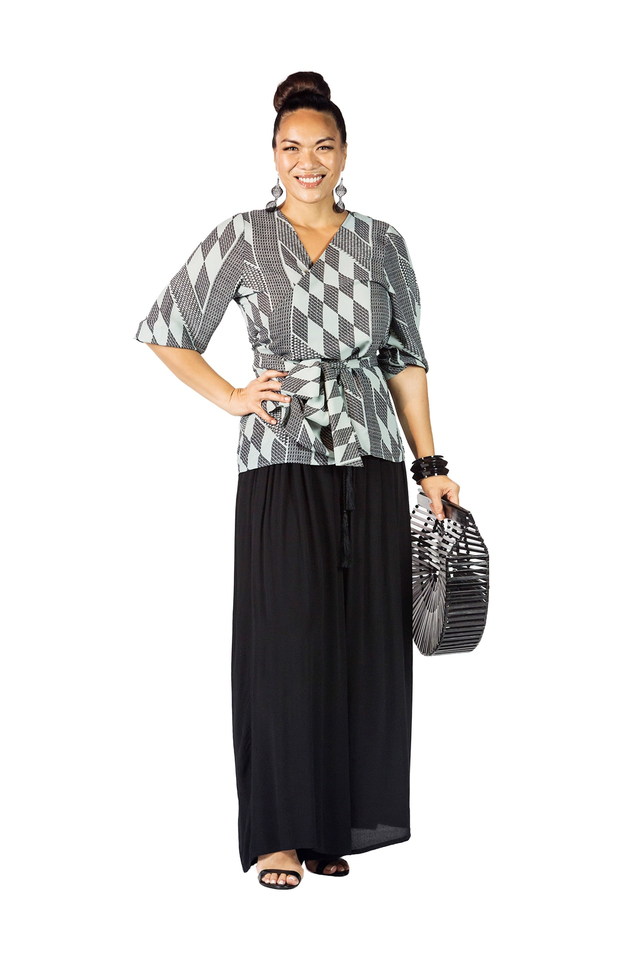 Model wearing Wainani Wrap Top in Black - Front View