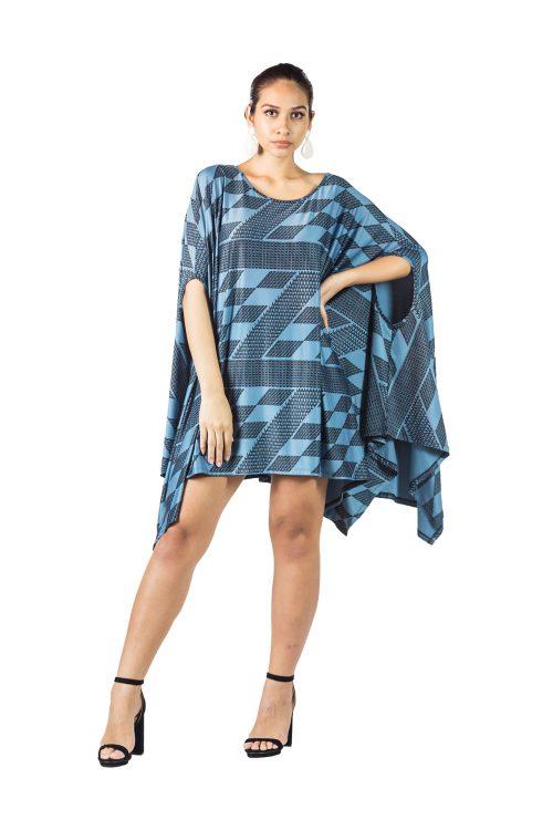 Model wearing Kipuka in Slate Blue Kamehameha - Front View