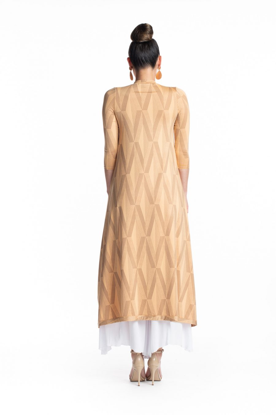 Female model wearing the Kalu Kalu Hi Low Dress in Clay Tannin - Back View