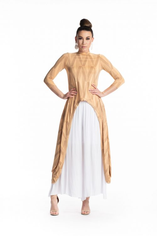 Female model wearing the Kalu Kalu Hi Low Dress in Clay Tannin - Front View