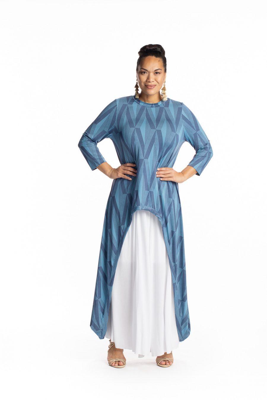 Female model waring Kalu Kalu Hi Low Dress in Indigo/Prov. Blue - Side View