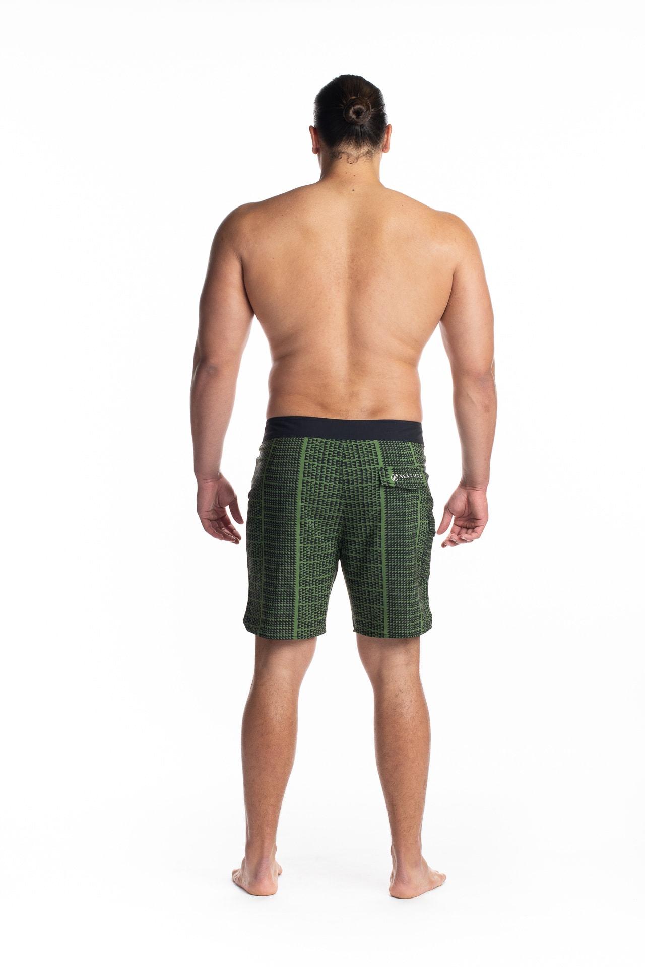 Male model wearing 4-way Stretch in Green Black Niho Ku - Back View