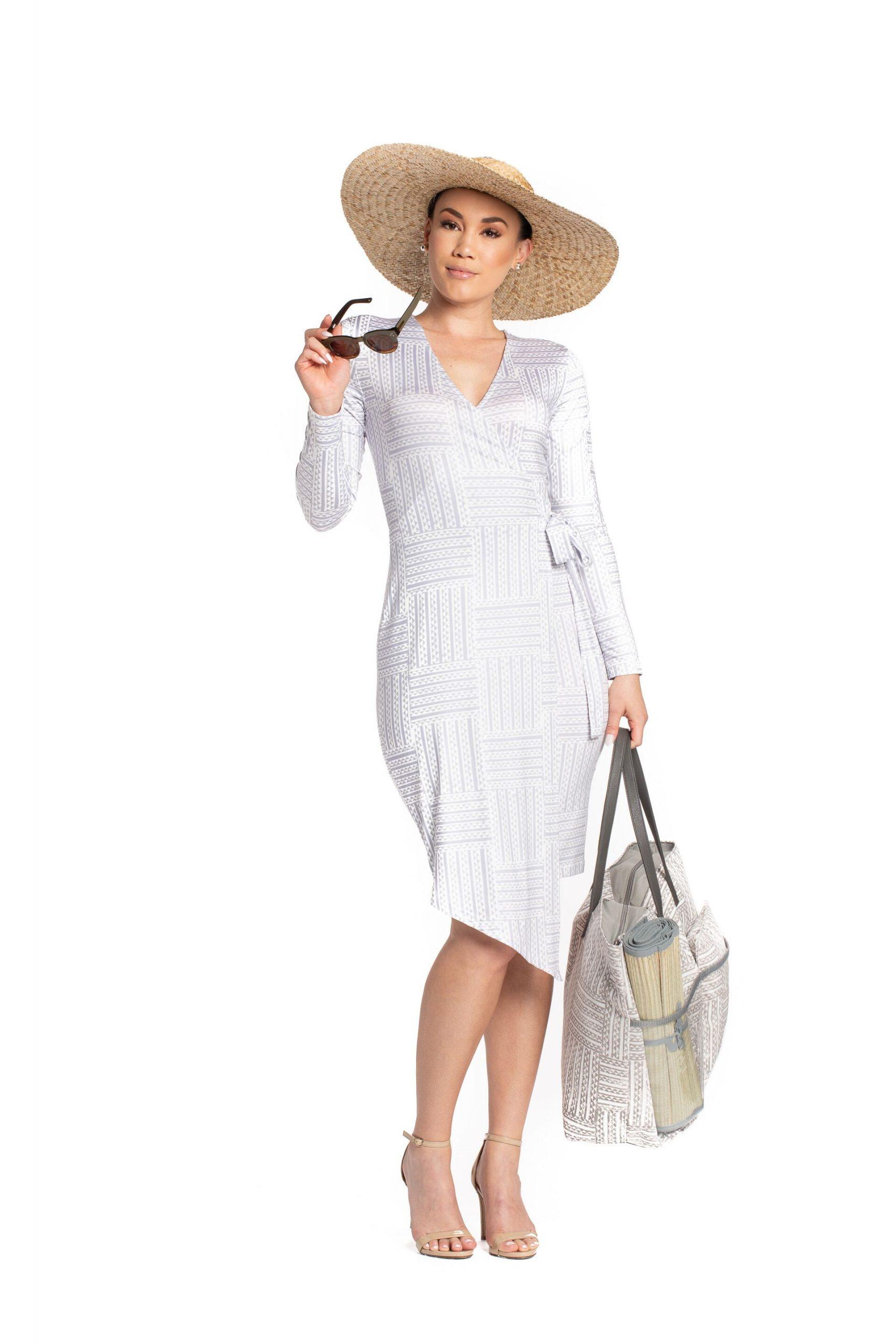 Model wearing Kawelu Faux Wrap - Front View