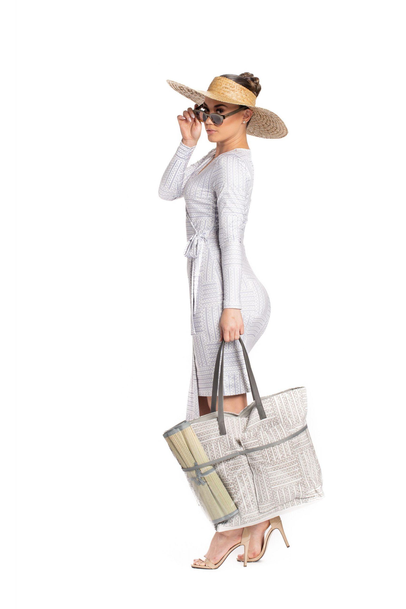 Model wearing Kawelu Faux Wrap - Side View