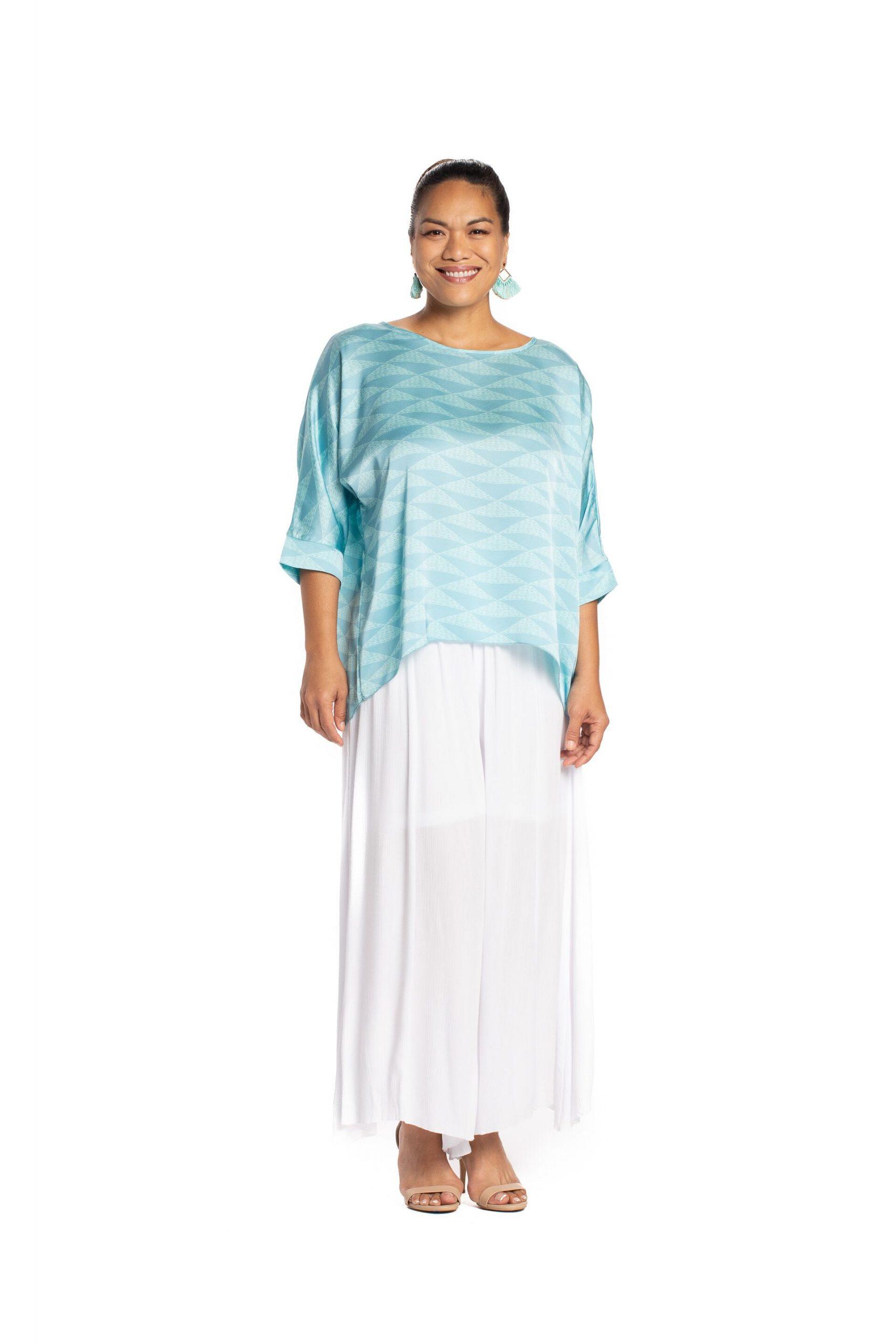 Model wearing Kawelu Faux Wrap Top - Front View