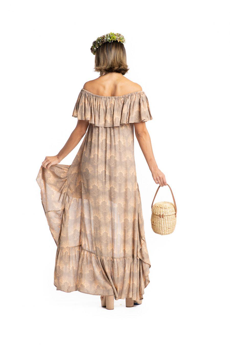 Model wearing Hauoli Long Dress in Kalihilehua Pattern - Back View