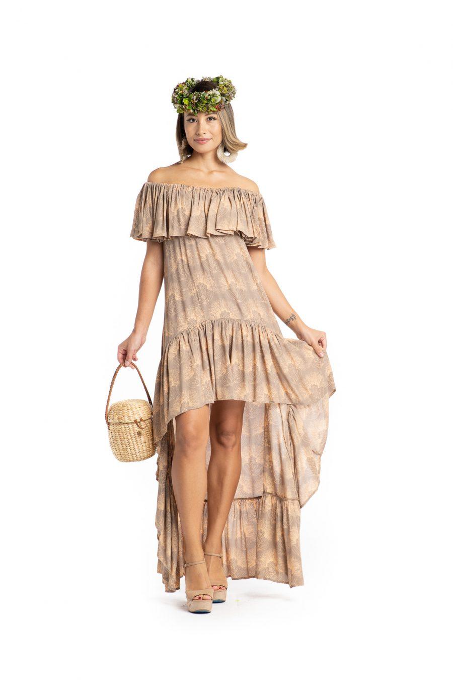 Model wearing Hauoli Long Dress in Kalihilehua Pattern - Front View