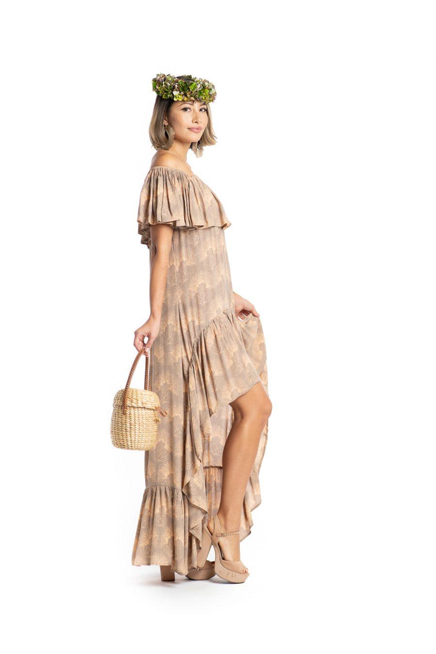 Model wearing Hauoli Long Dress in Kalihilehua Pattern - Side View