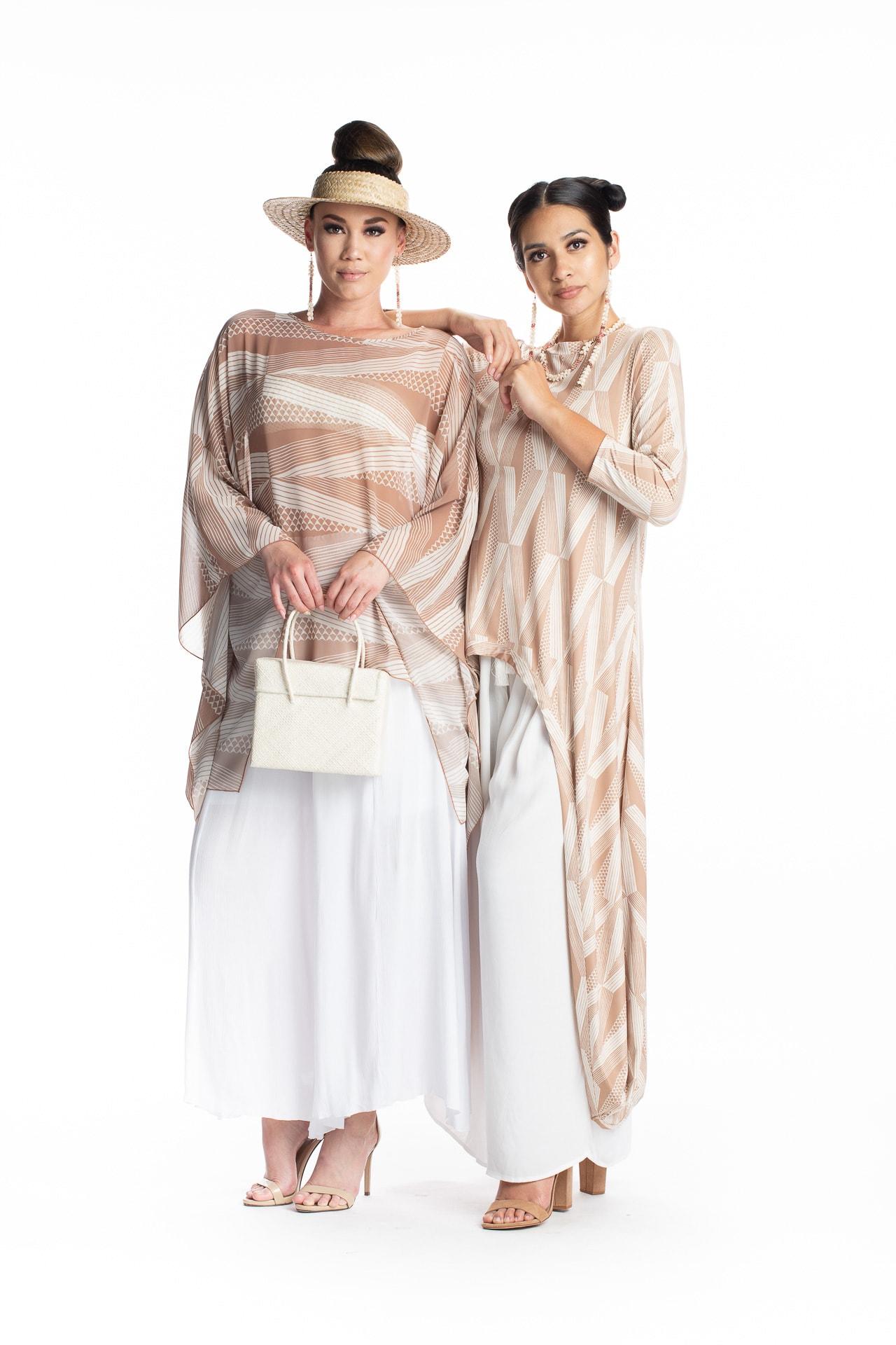 Two female models wearing Kinolau Pattern Shirts