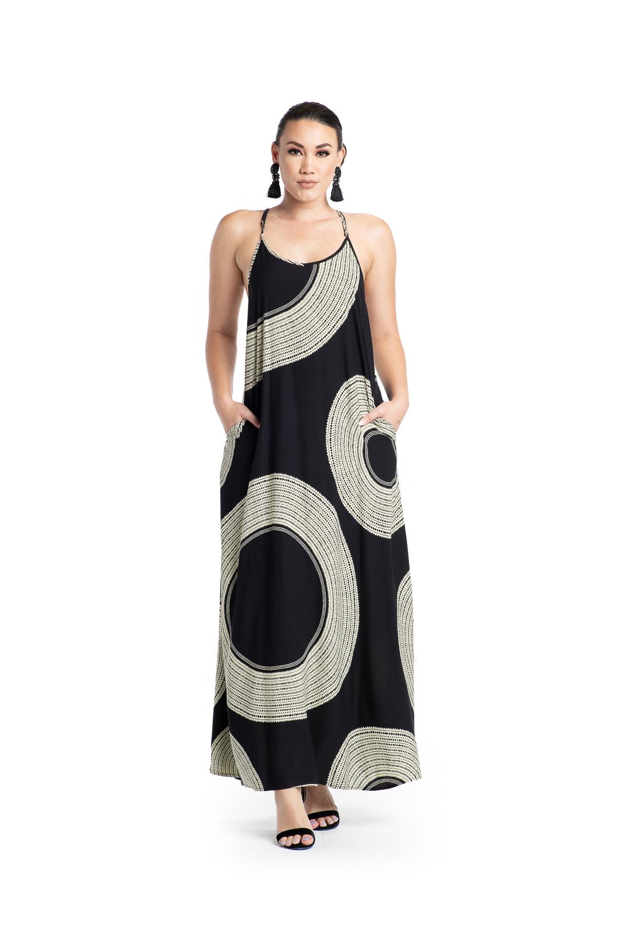 Model wearing Lanihau Dress in Black - Front View