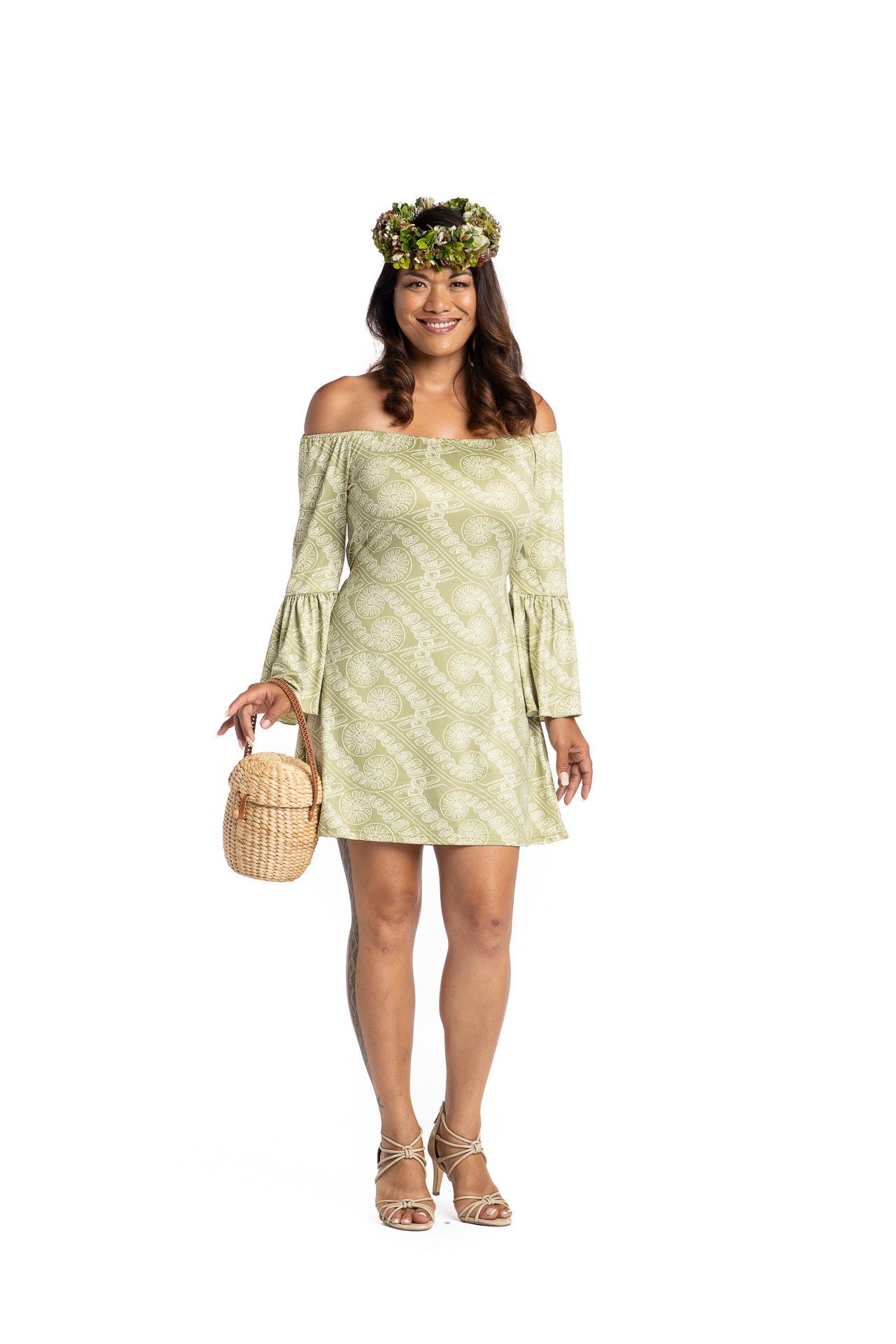 Model wearing Mele Short Dress in Amau Green - Front View