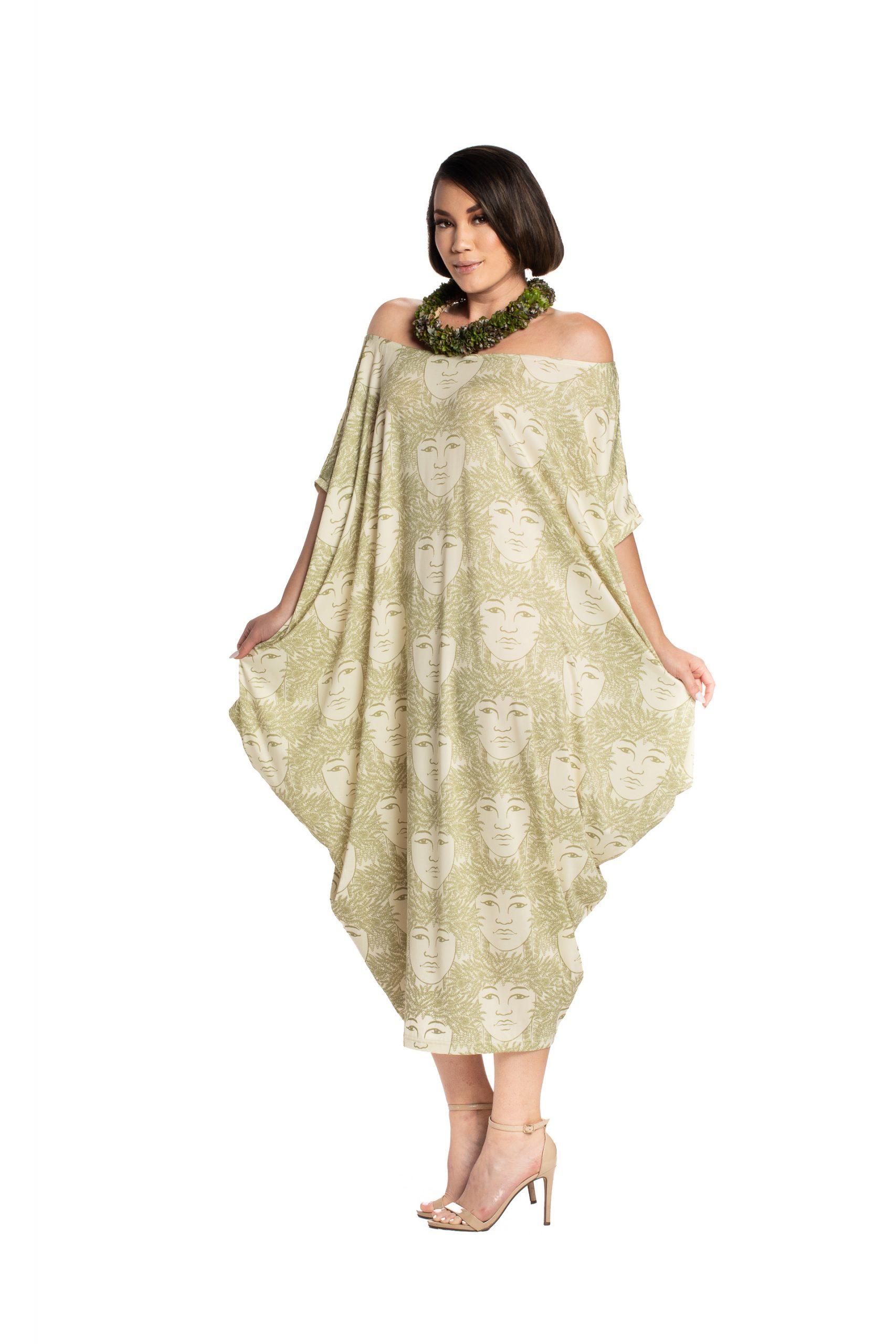 Model wearing a nanea dress in green