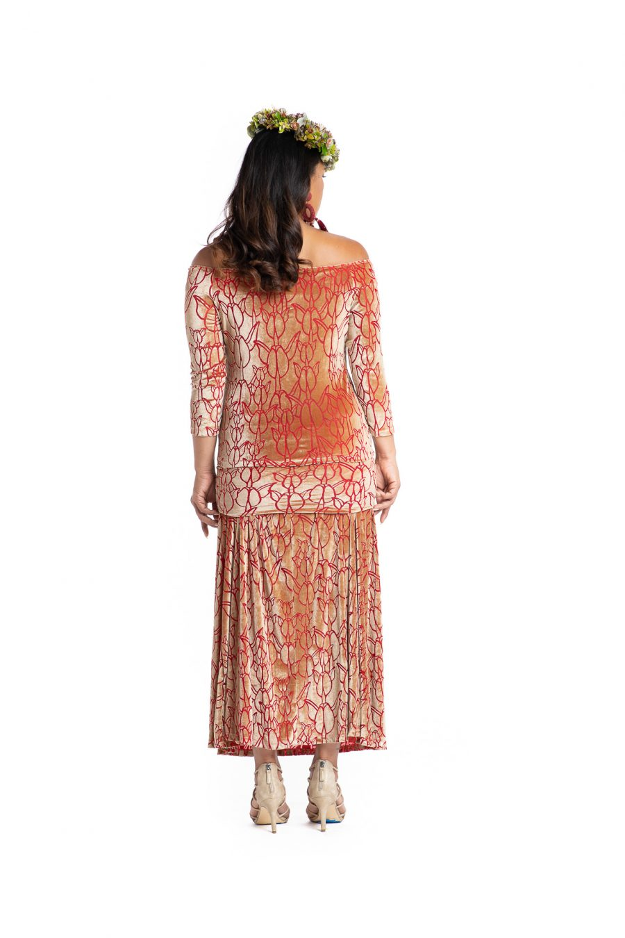 Model wearing Poohiwi Dress in Apricot - Back View