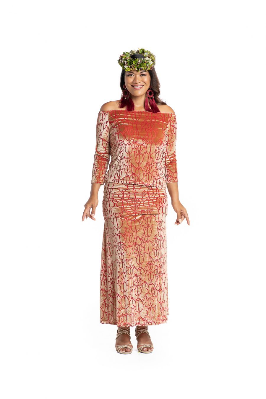 Model wearing Poohiwi Dress in Apricot - Front View