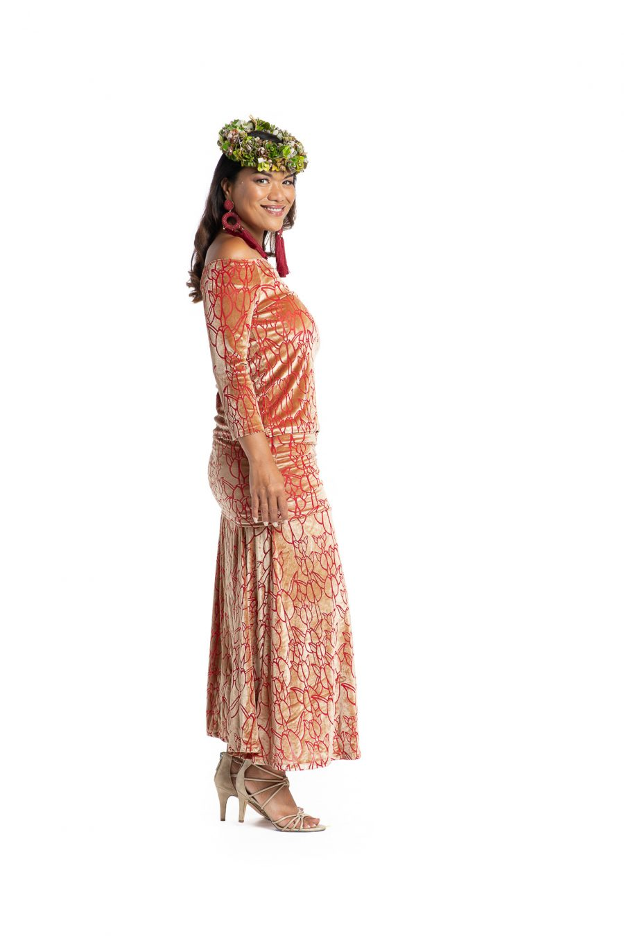 Model wearing Poohiwi Dress in Apricot - Side View