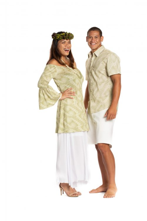 Male and female model wearing Aloha S-S Shirts in Sage Green Amau