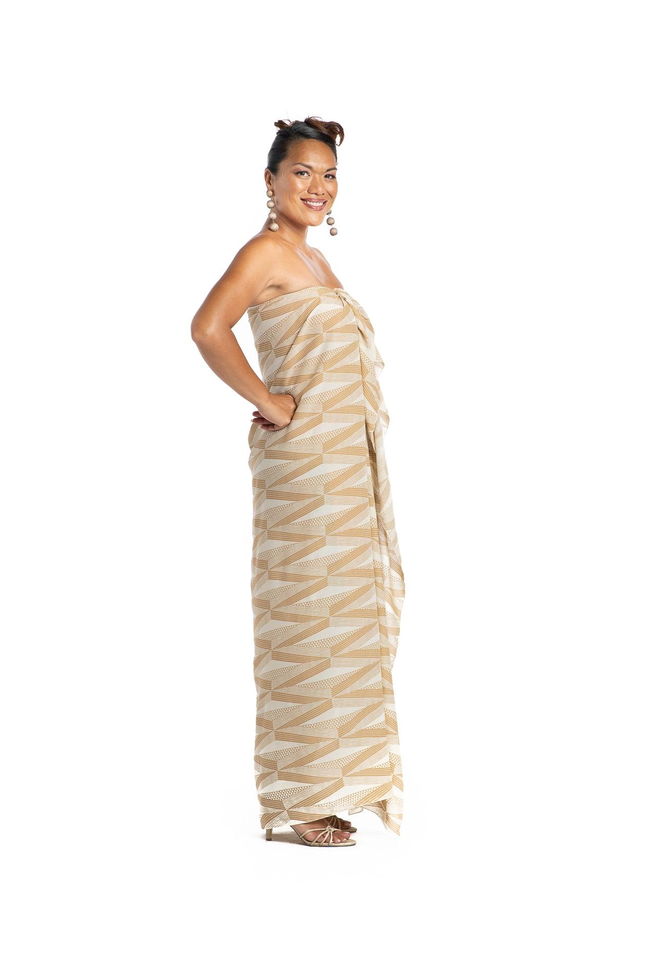 Model wearing Pareo in Thrush Brown/Moonbeam - Side View