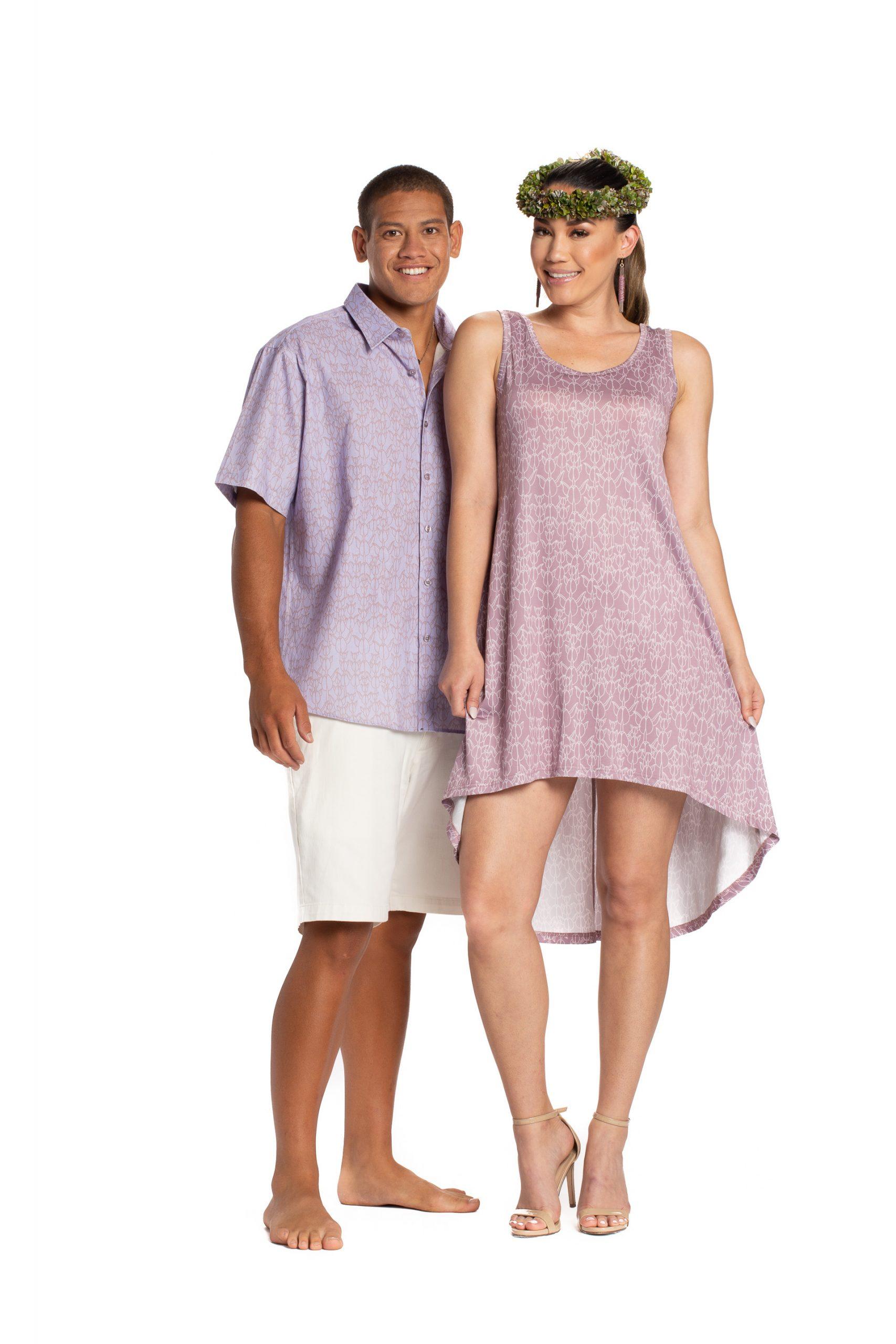 Model wearing a Waikoloa High Low Dress and male model wearing a purple Aloha Shirt