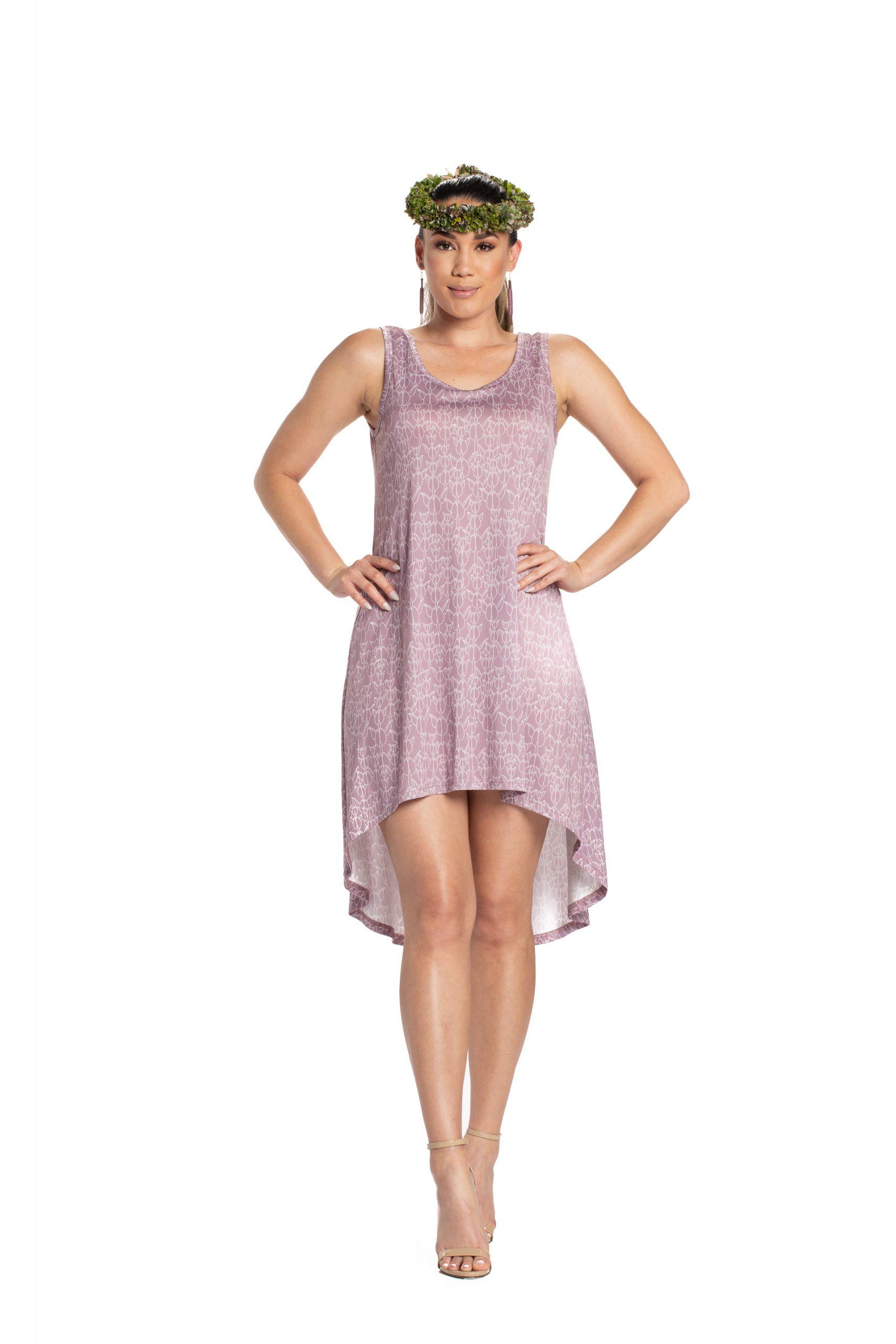Model wearing a Waikoloa High Low Dress - Front View