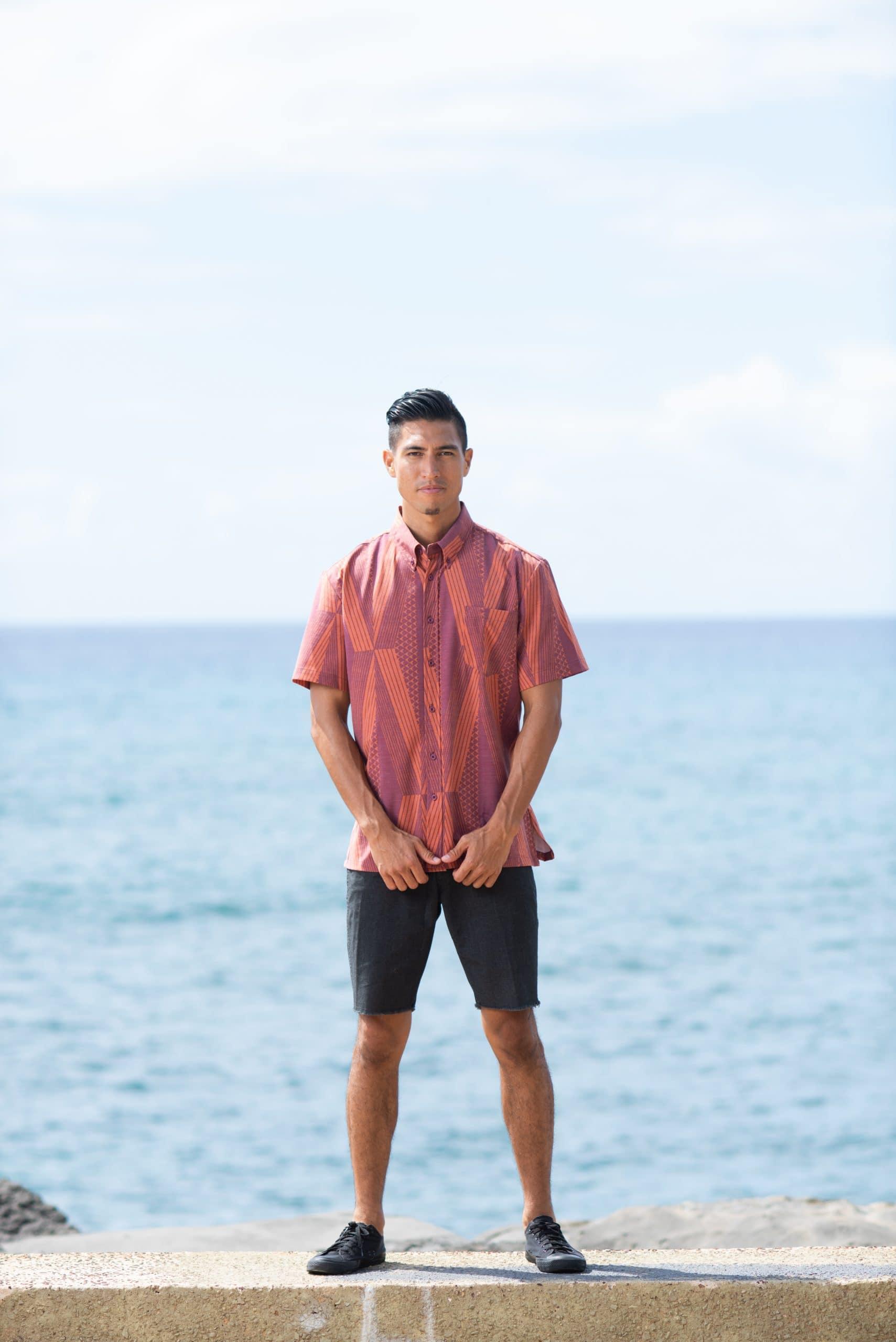 Model wearing Mahalo Nui Shirt - Front View