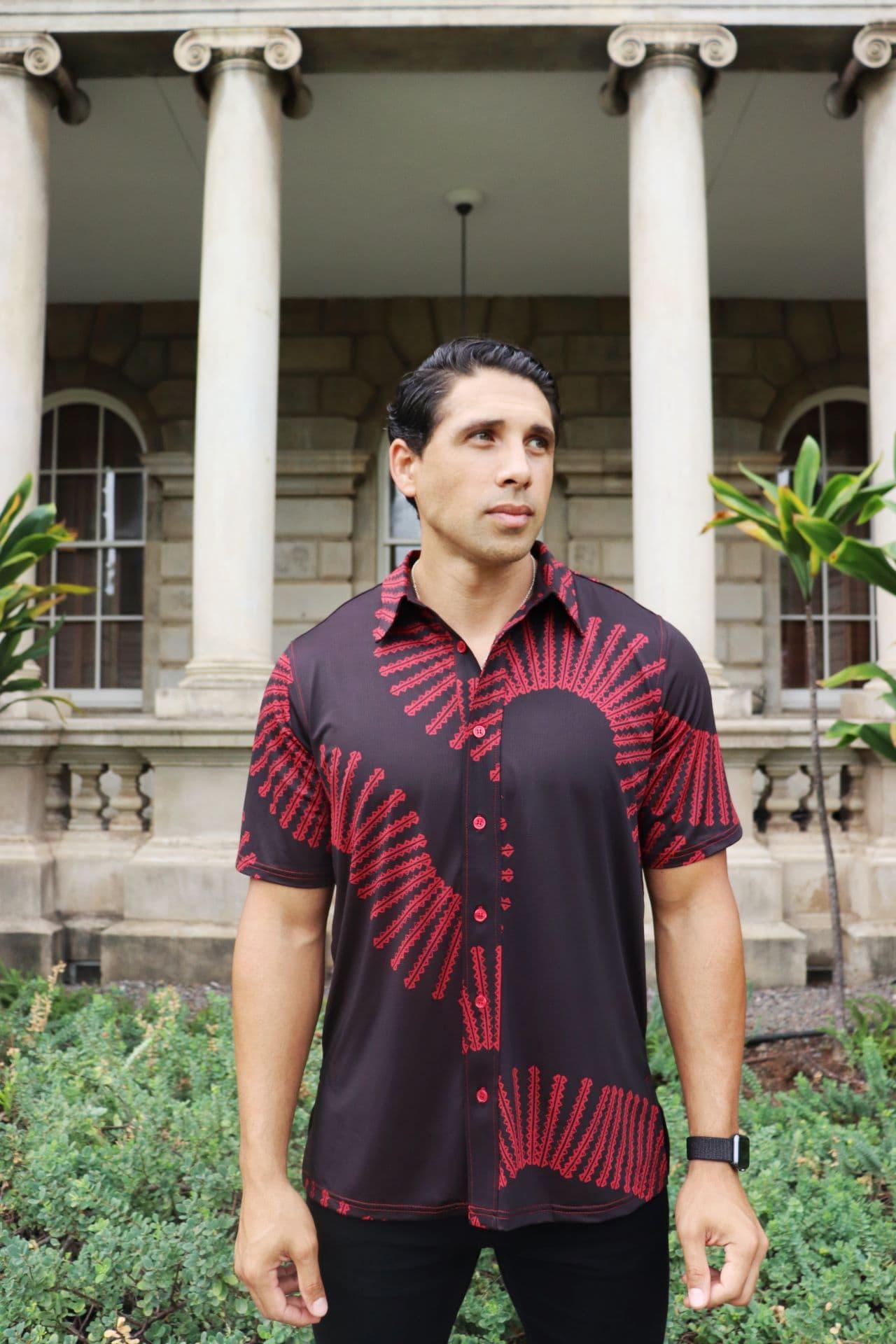 Male model wearing Golf Aloha Shirt in Brick Red/Deepwell Lalanikalea