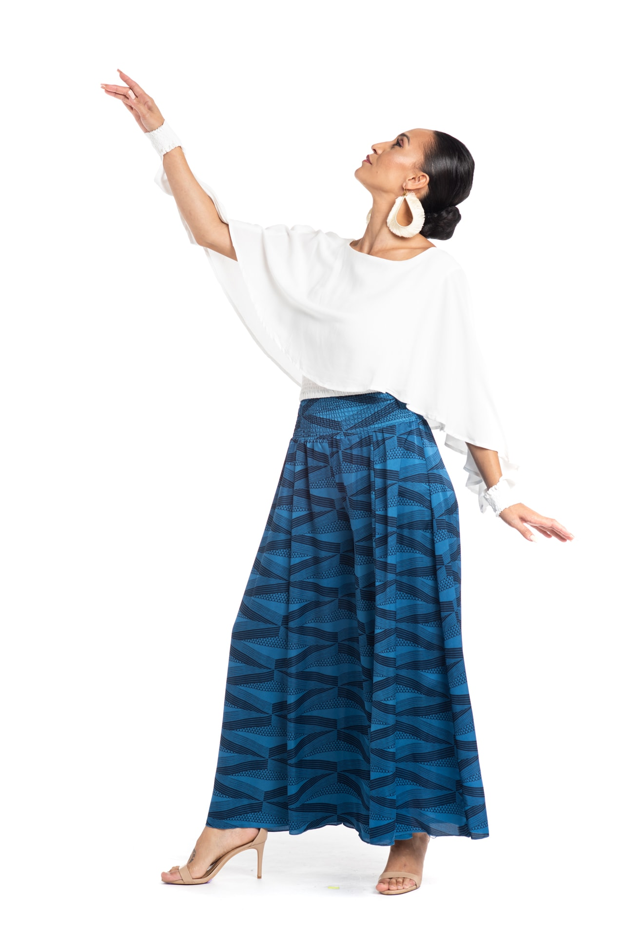 Model wearing Huakai Pant in Blue - Front View