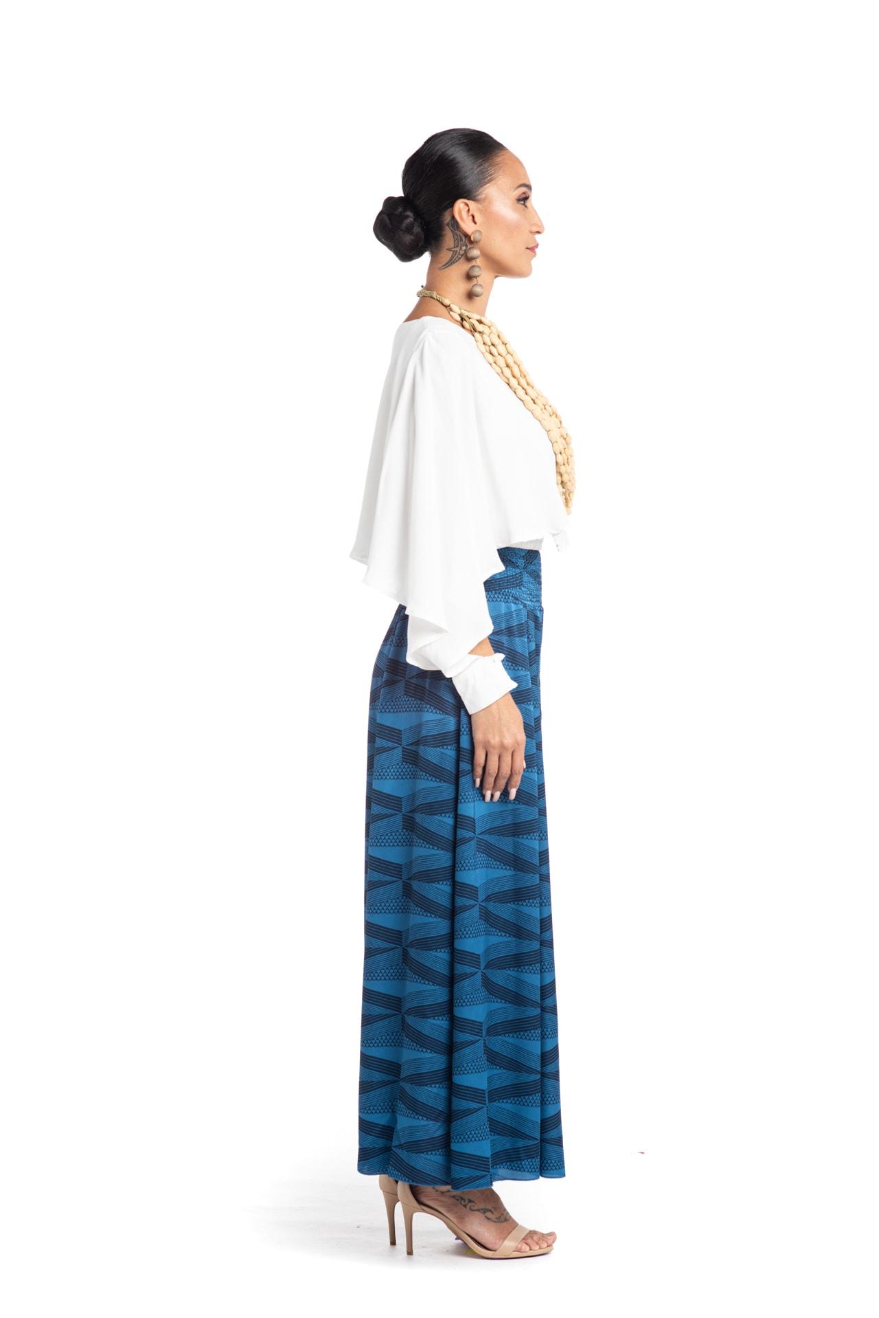 Model wearing Huakai Pant in Blue - Side View
