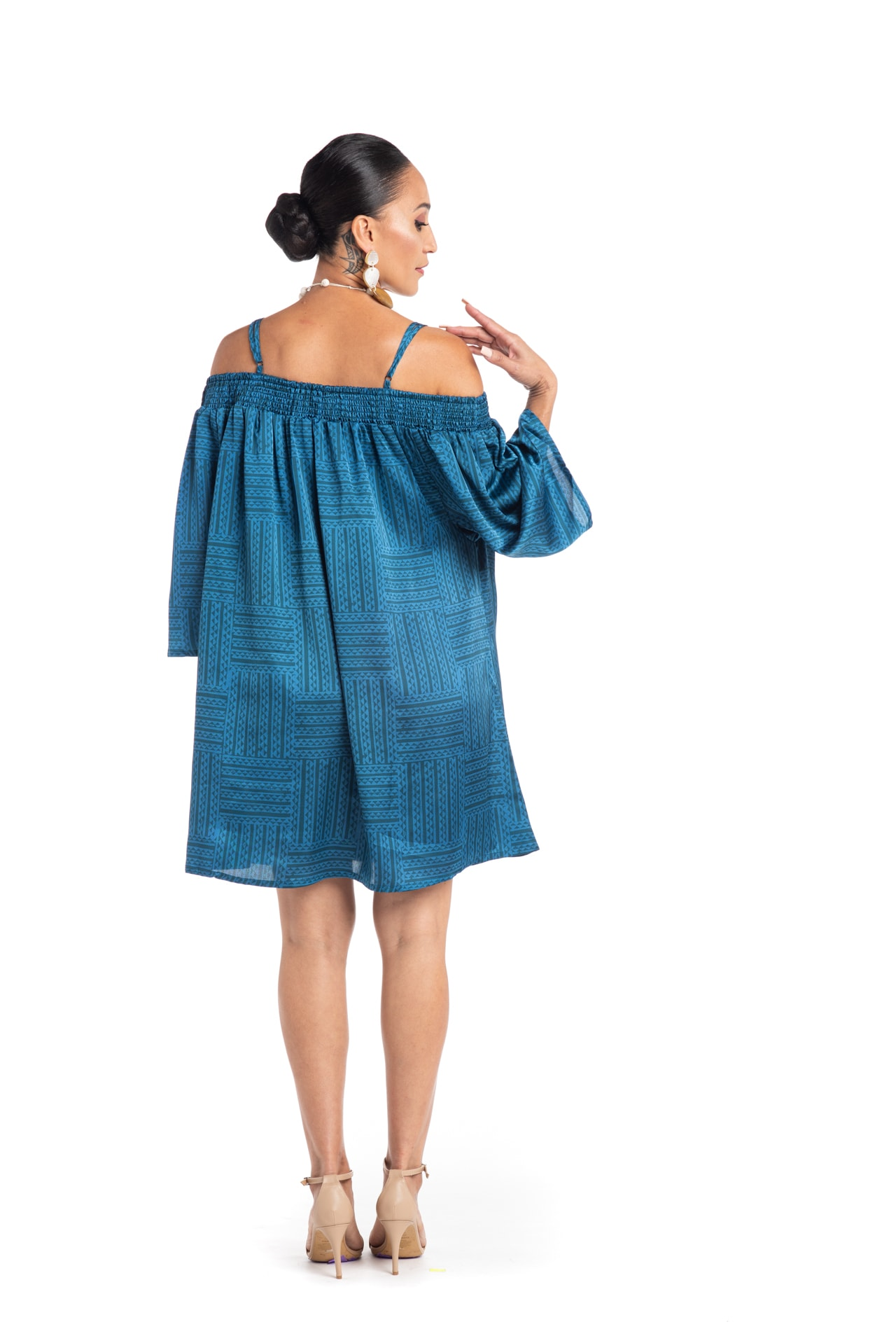 Model wearing Kauai Dress in Blue - Back View