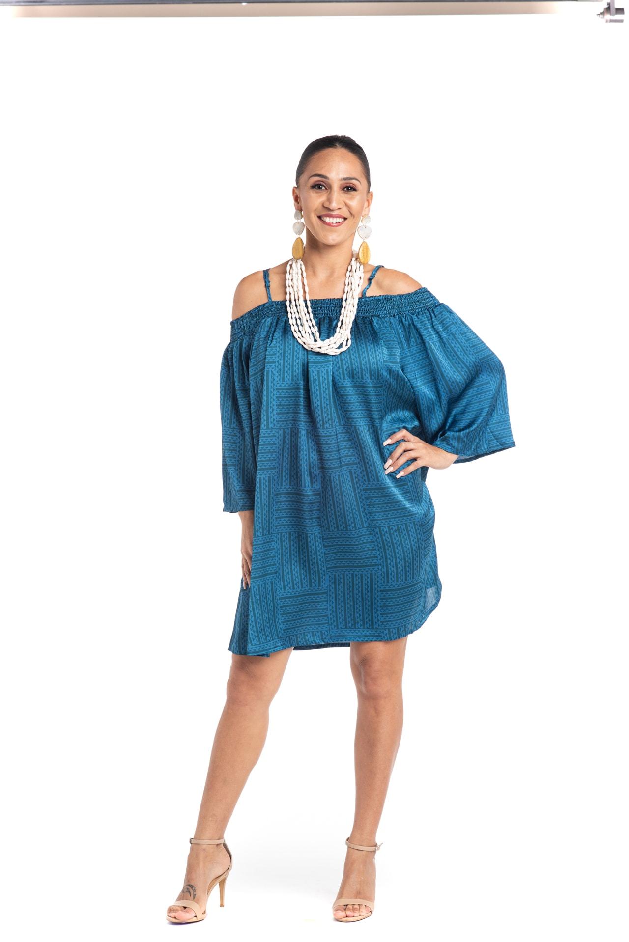 Model wearing Kauai Dress in Blue - Front View