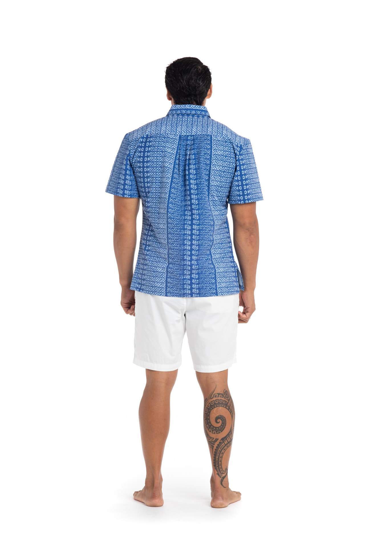 Male model wearing Mahalo Nui Shirt in Blue AkoaAkoa - Back View