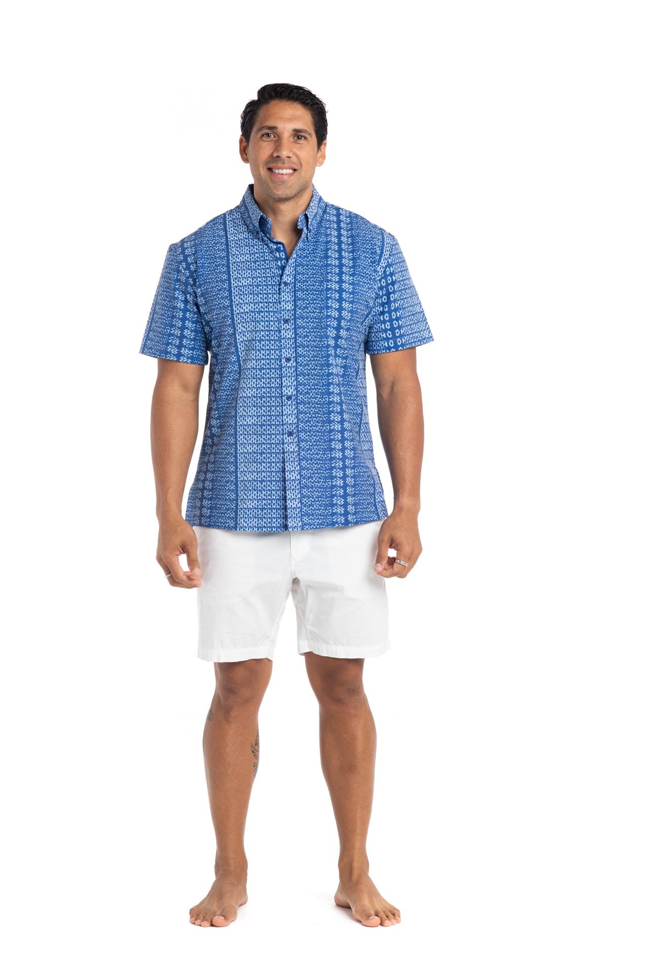 Male model wearing Mahalo Nui Shirt in Blue AkoaAkoa - Front View