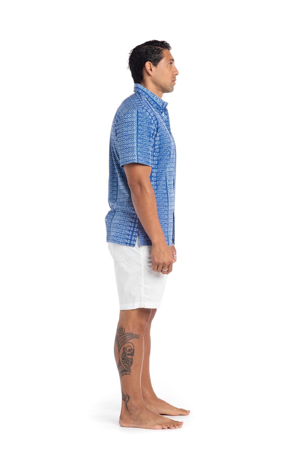 Male model wearing Mahalo Nui Shirt in Blue AkoaAkoa - Side View