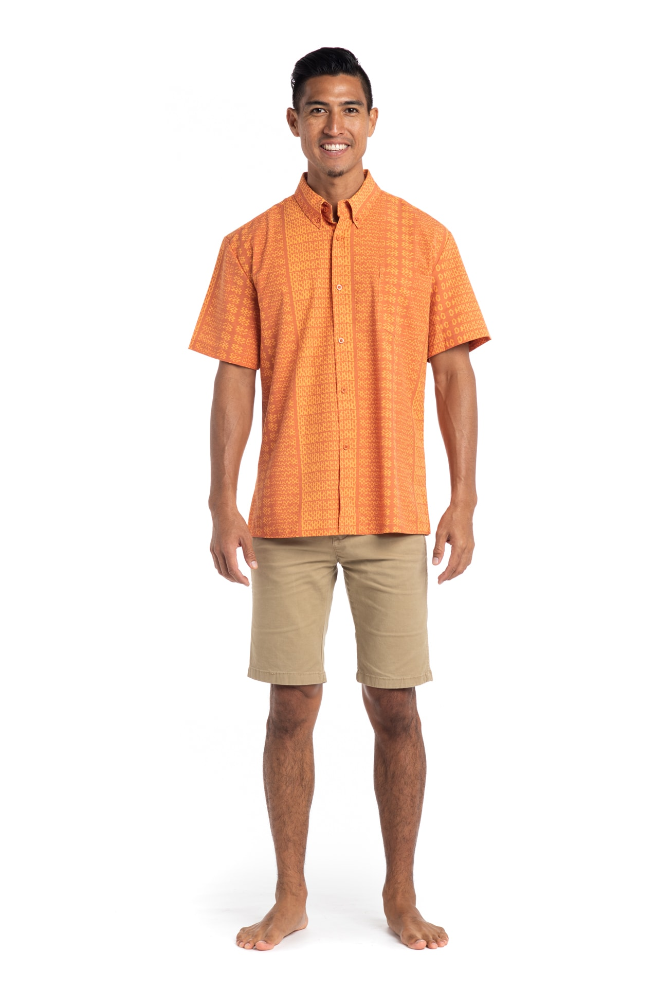 Male model wearing Mahalo Nui Shirt in Orange AkoaAkoa - Front View