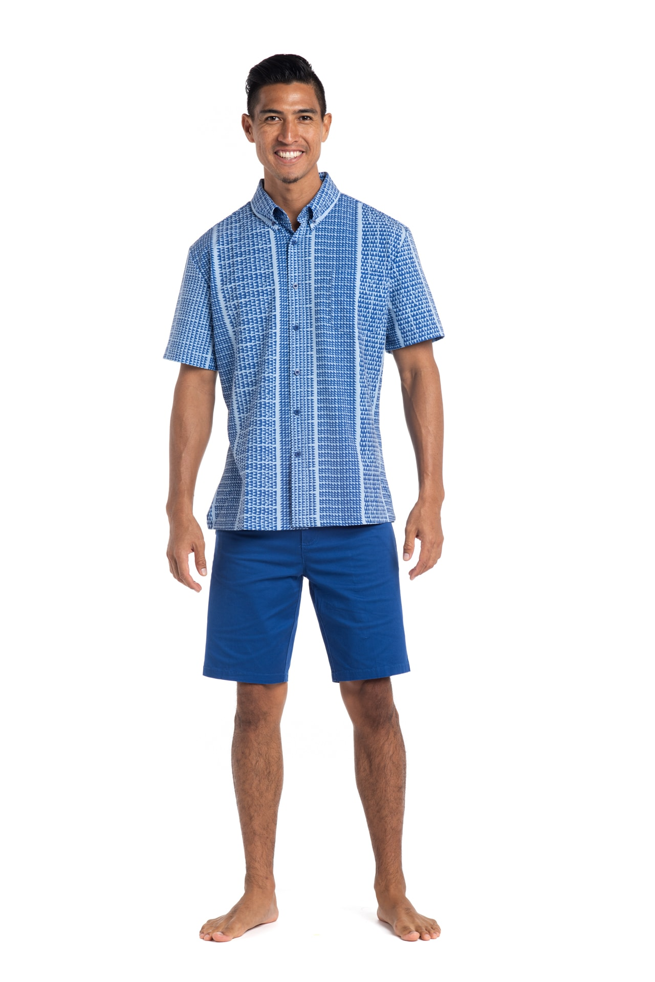 Male model wearing Mahalo Nui Shirt in Blue Niho Ku - Front View