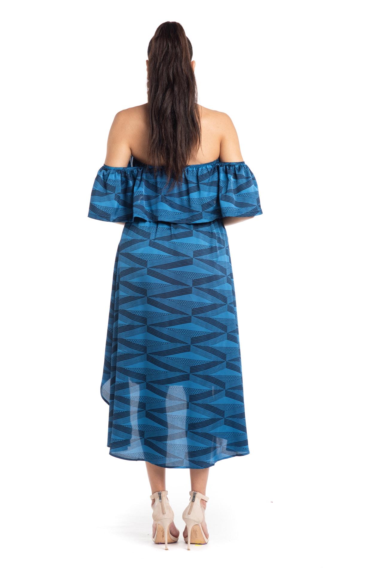 Model wearing Venus Dress in Blue - Back View