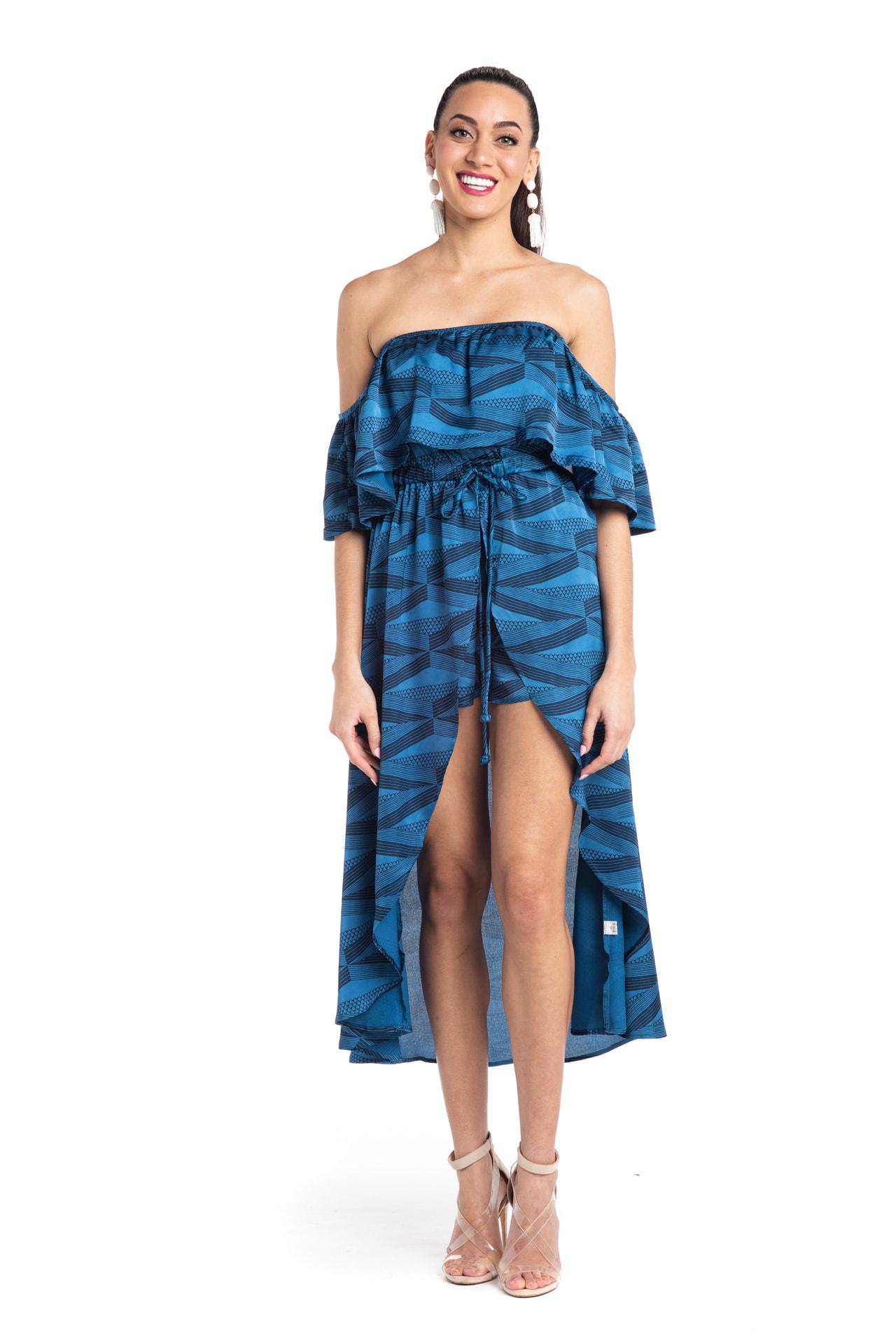 Model wearing Venus Dress in Blue - Front View