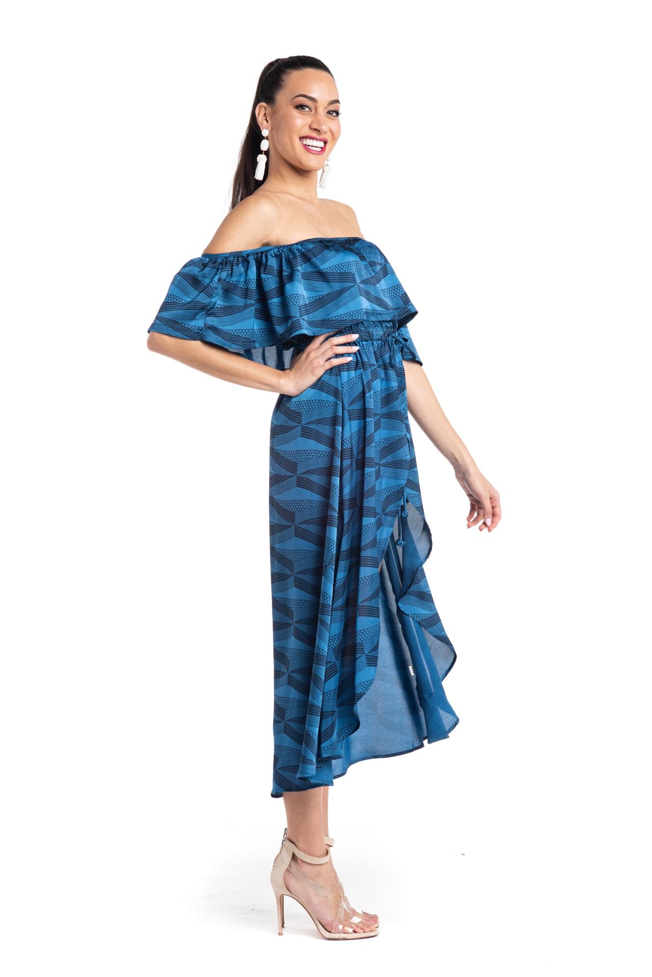 Model wearing Venus Dress in Blue - Side View