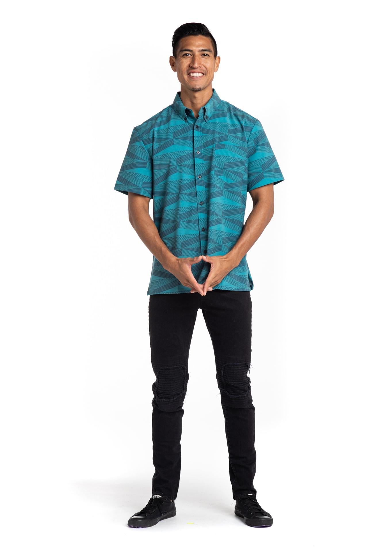 Male model wearing Mahalo Nui Shirt - Front View