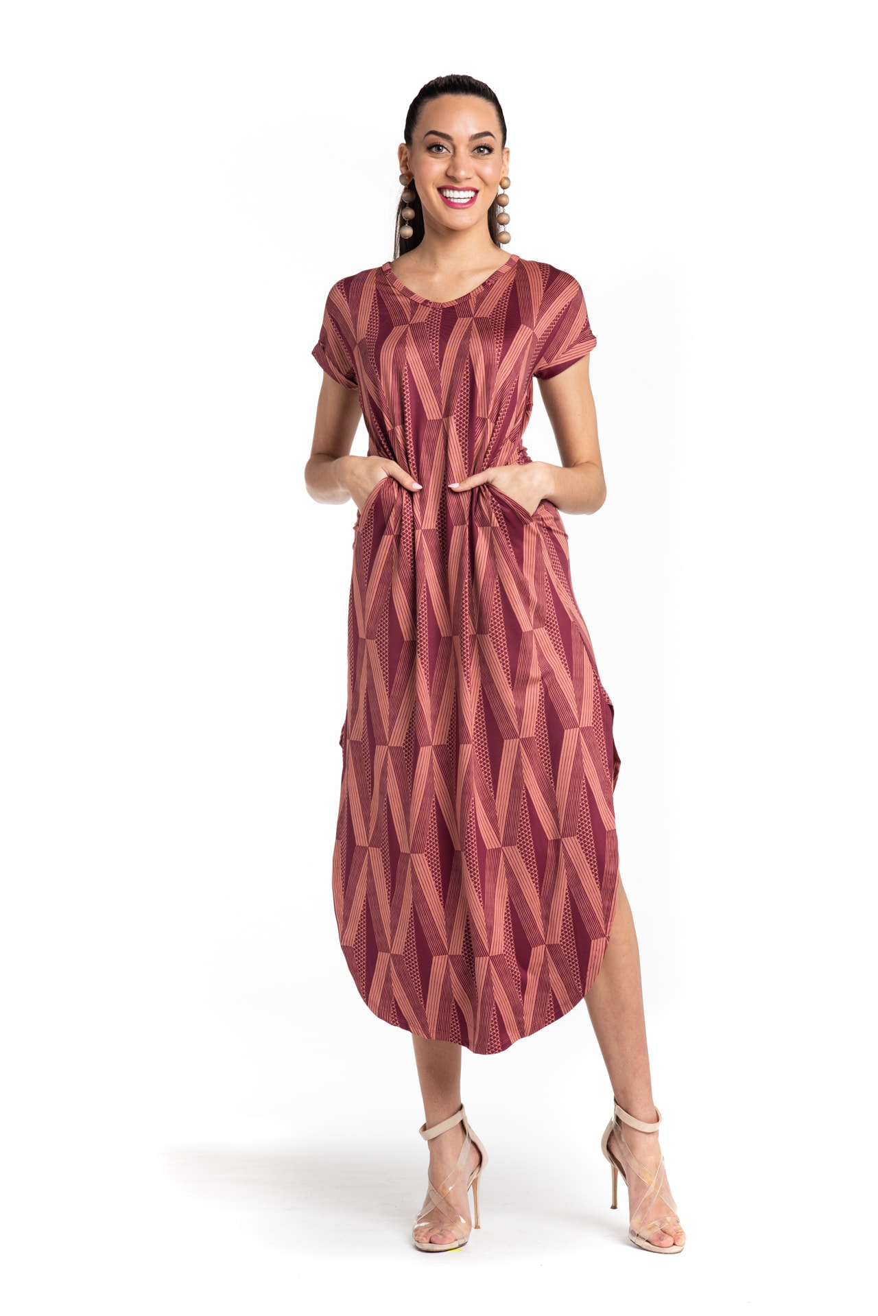 Model wearing Mahalo Nui Dress in Copper - Front View