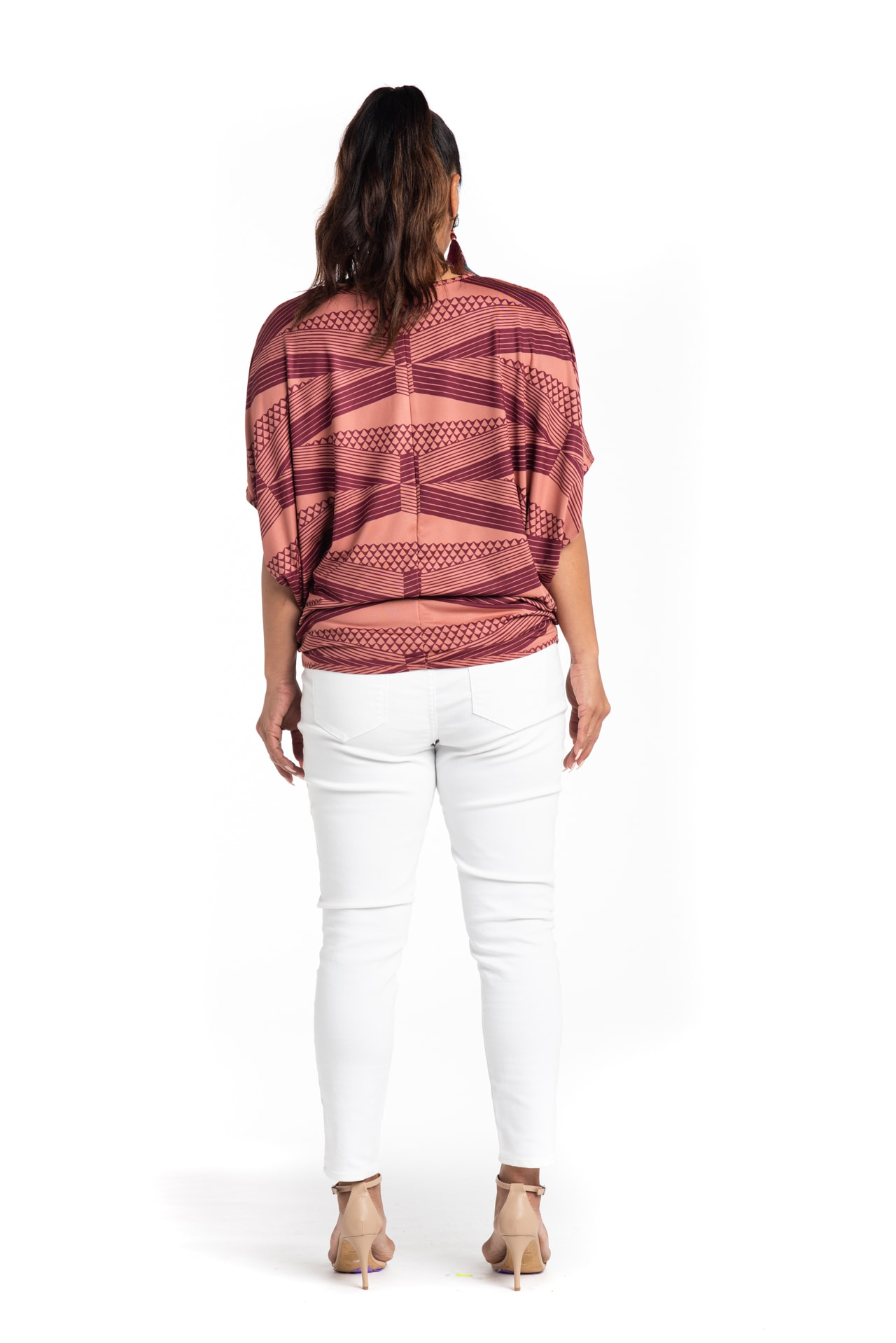 Model wearing Mahalo Nui Shirt in Copper - Back View