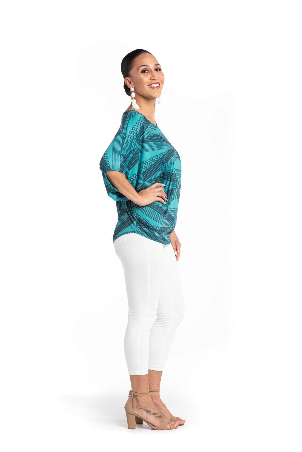 Model wearing Mahalo Nui Shirt in Blue - Side View